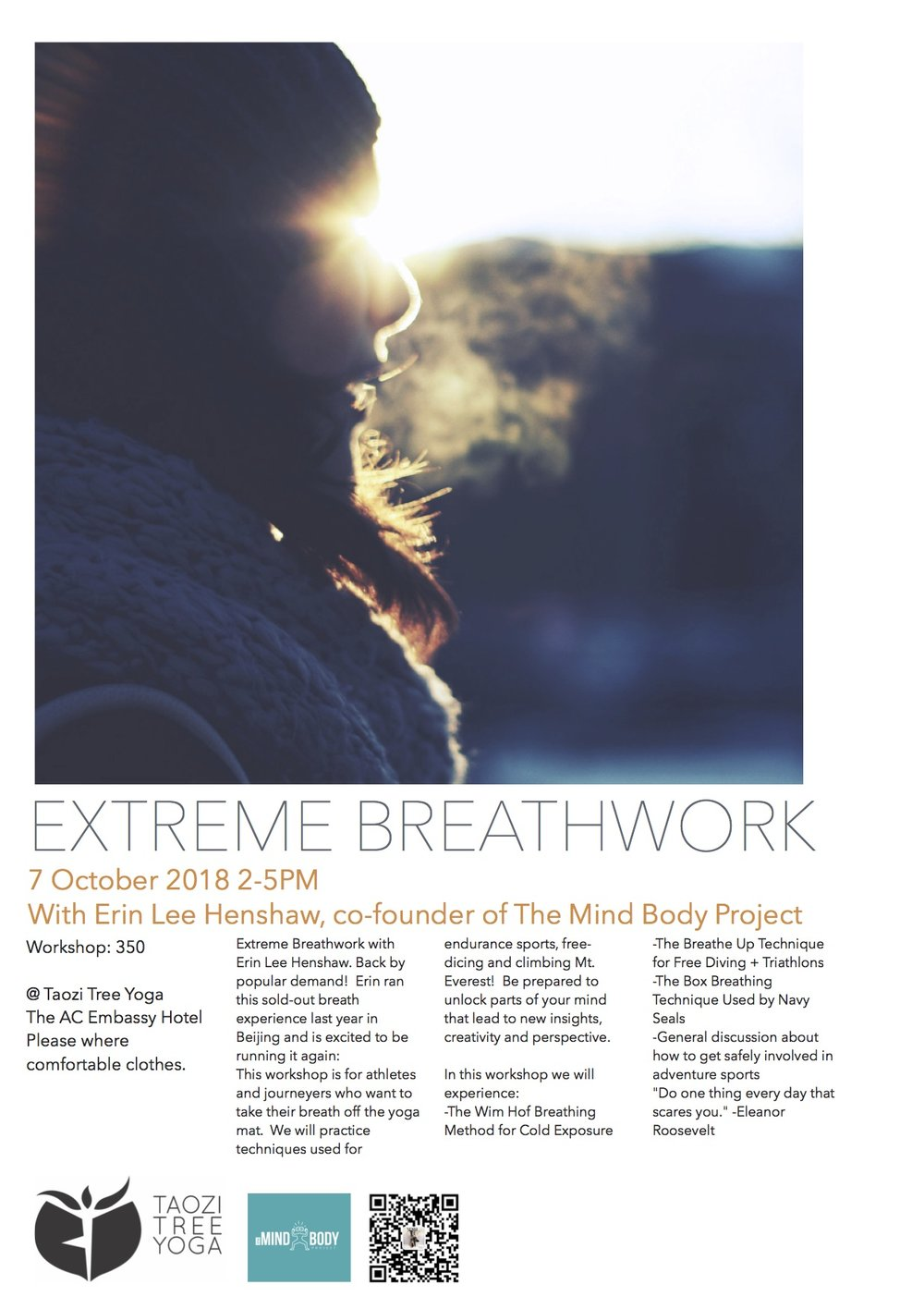 Extreme breathwork with Taozi Tree Yoga. More programs available by request.