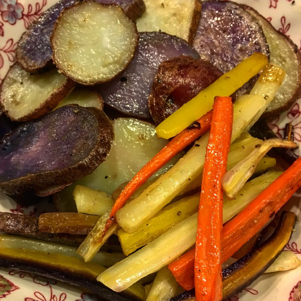 Roast Purple & Red Potaoes, Rainbow Carrots