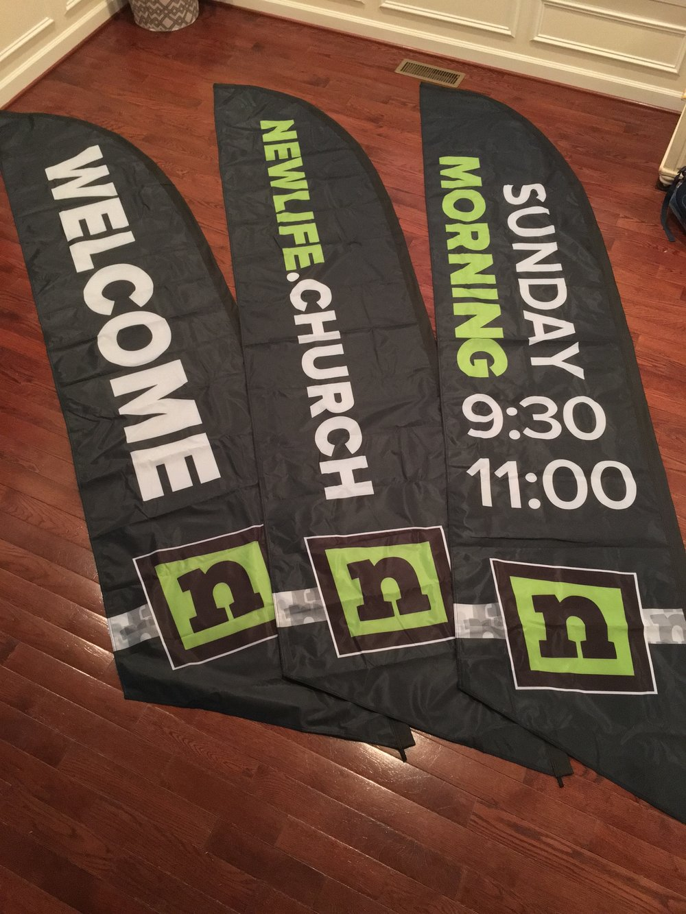 14' flag banners Ben created for the Linton Hall Campus.