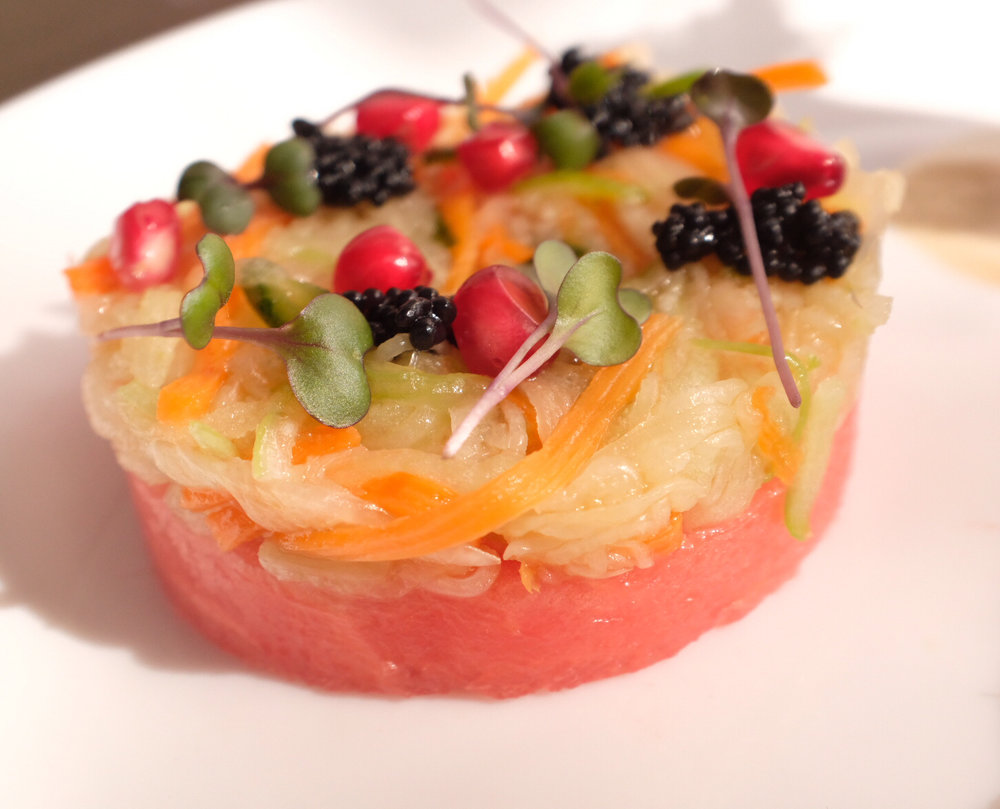 Pickled water melon and veggies, seaweed caviar