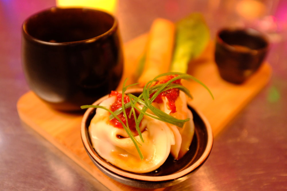 Hand made wontons, pickled chilli jam