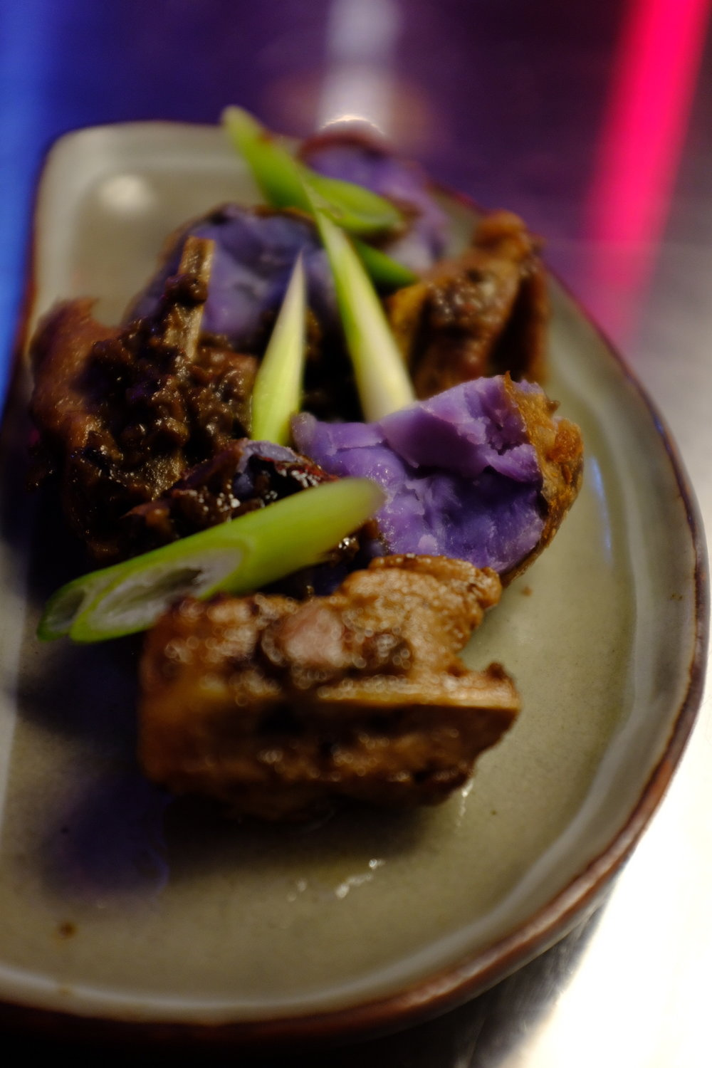 Spare ribs, purple potatoes, Chinese five spices
