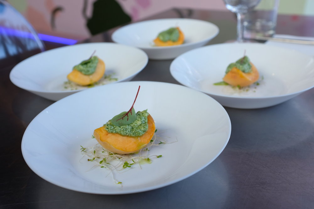 Yellow peach with cashew pesto