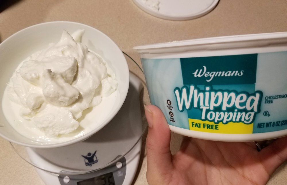2. ADD Your Whip - On top of your yogurt, measure out 10TBSP (45g) of fat free cool whip.More cool whip = fluffier whip!I'll use anywhere from 4-10 TBSP depending on what i'm craving.