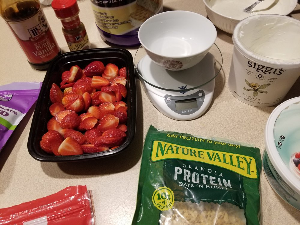 INGREDIENTS + PREP - Fat Free Greek OR High Protein Yogurt (1/2 Serving = 113g OR 1/2 Cup )Fat Free Cool Whip (4-5 Servings = 45g OR 8 TBSP)Vanilla Protein Powder (1 Scoop)Vanilla ExtractCinnamonLiquid Stevia- - - - - - - - - - - - - - - - - - - - - - - - - - - - - - - - - - - - - - - - - 1 BowlSpoonFood Scale / Measuring Cups