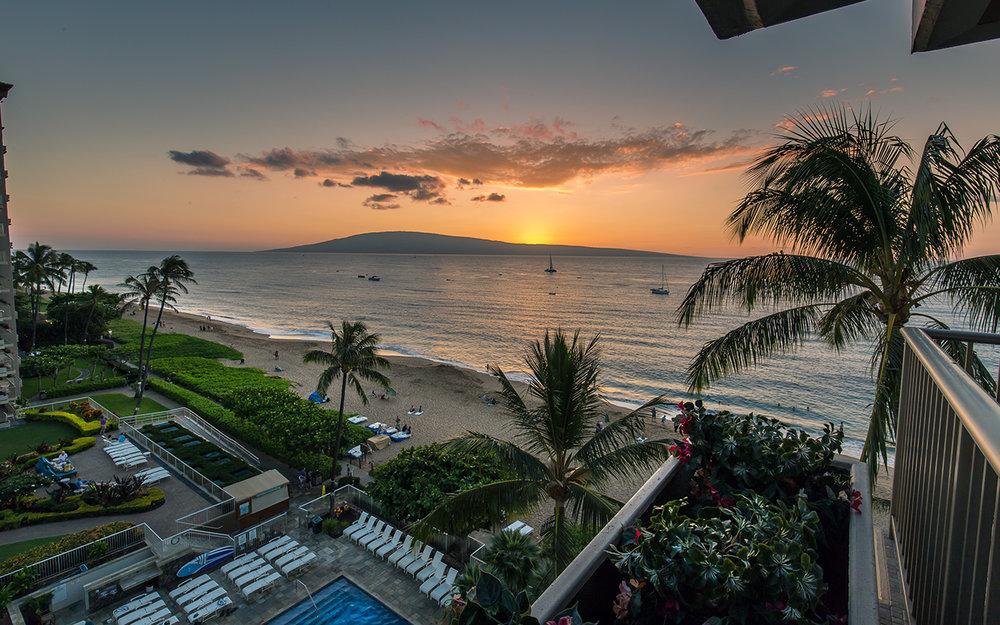 Whaler-Condos-Kaanapali-Beach-Maui-WH701-Lanai-Sunset-2.jpg