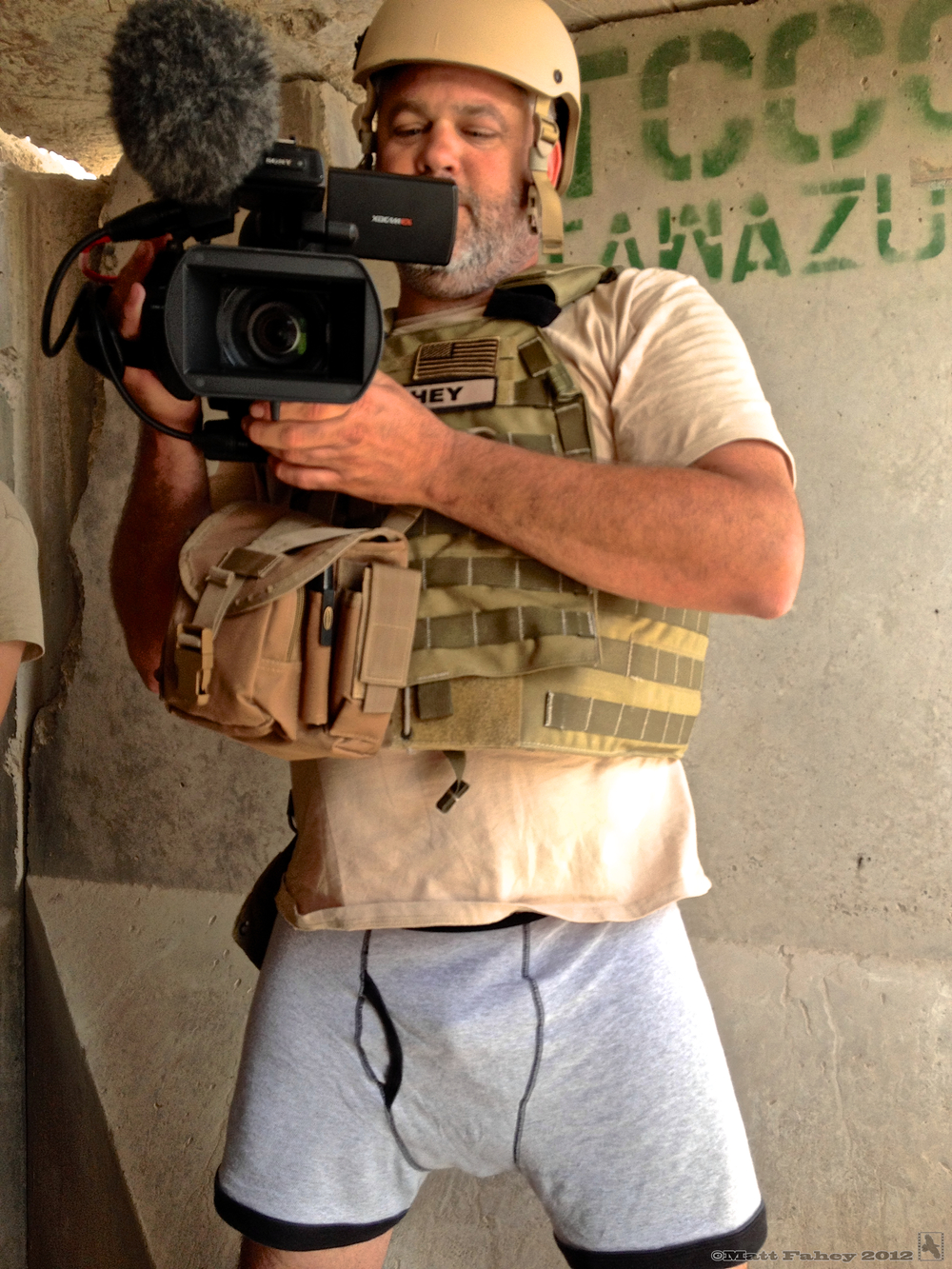 The choice was simple: body armor or pants? H iding in a blast bunker from indirect fire, Kandahar Airfield, Afghanistan, July 2012.