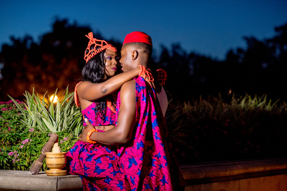 Adaeze was so detailed in planning the outfits and props for the eengagement session, down to the minor detail of incorporating a mortar (used in Nigeria, mostly in the village, to blend and mix herbs and spices) into the traditional shots. These pics brought me joy,reminded me of the village, reminded me of the importance of celebrating your culture and incorporating elements of your culture into the important moments in your life.