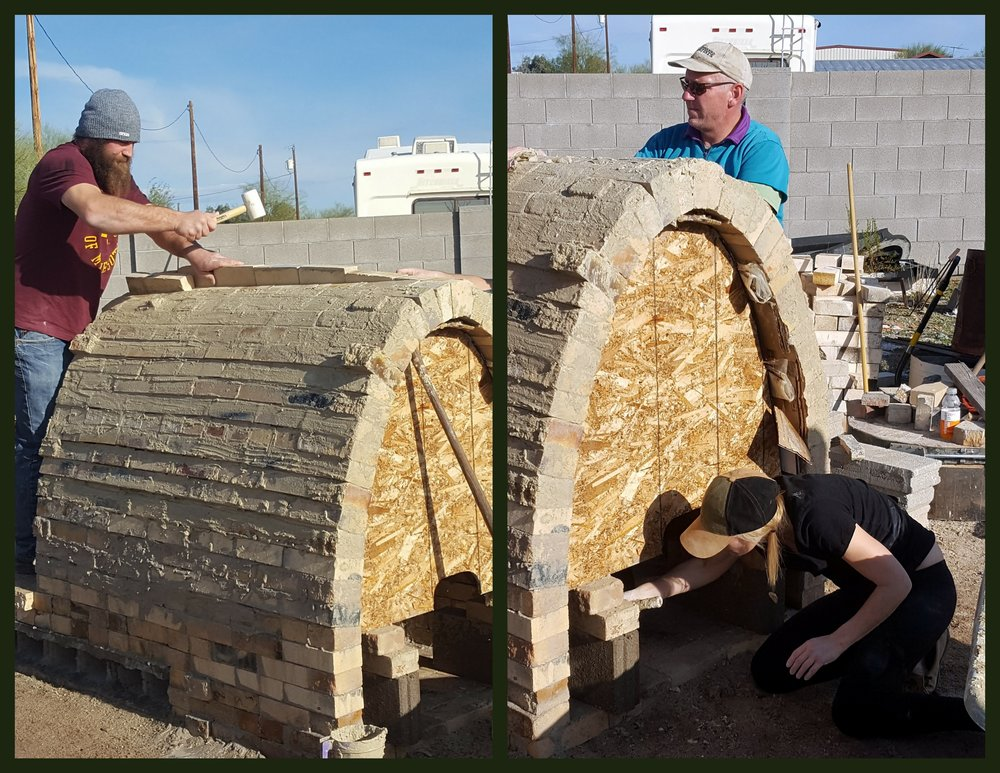 Shane hammers in the final bricks of the arch (left) and Tracy (bottom right) works on pulling the frame out of the arch, while John inspects the work.