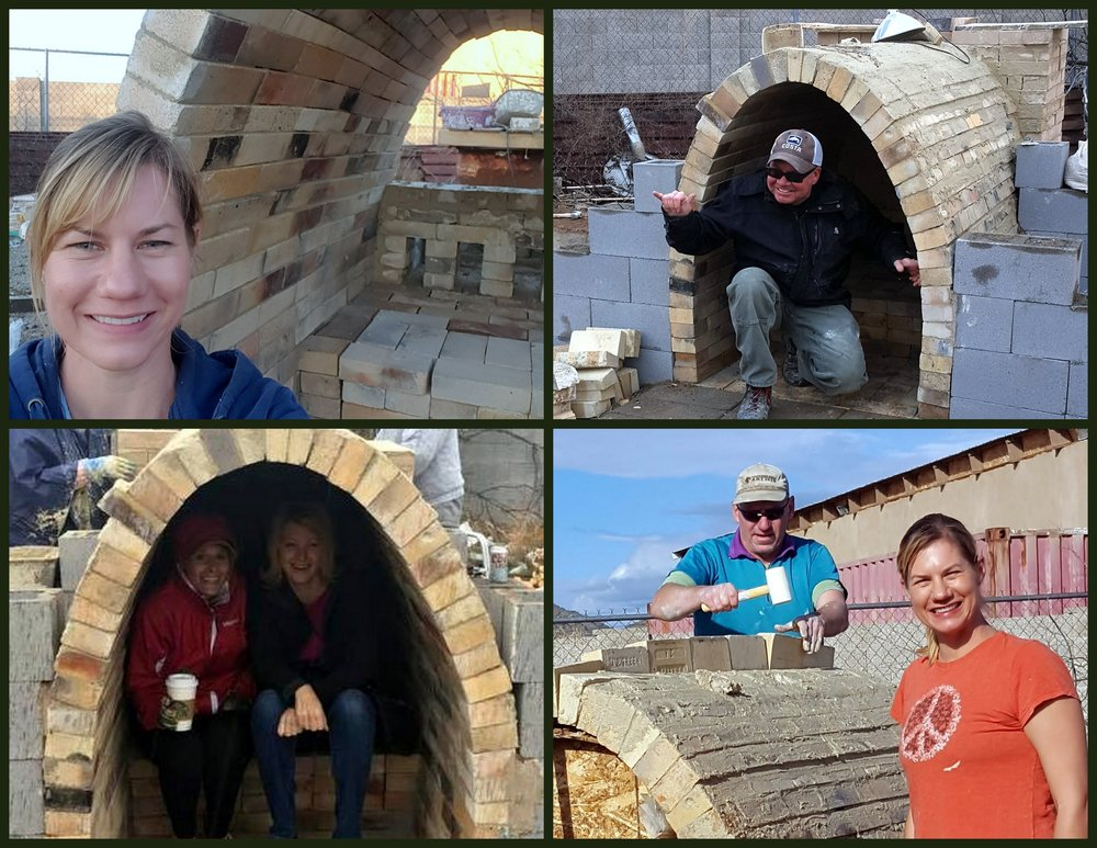 Kiln shots!  Me (top left, bottom right), Tom (top left), Tracy and Rose (bottom right), and John hammering some bricks into the top of the arch (bottom right).
