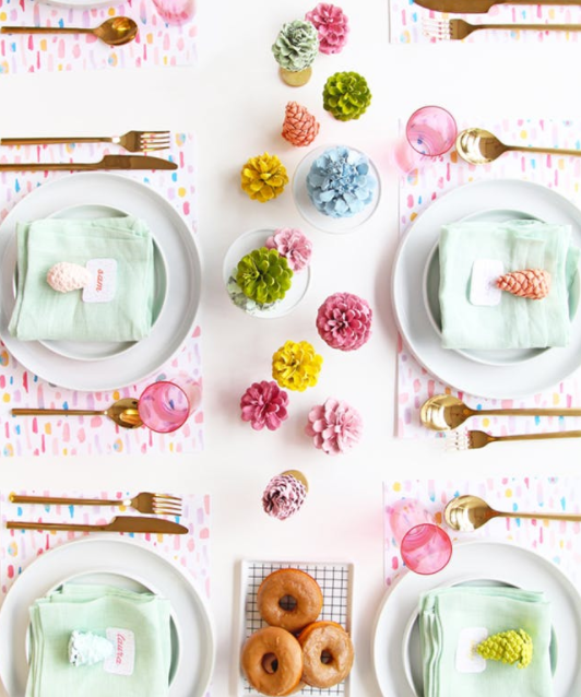 1. Painted Pinecone Table Runner:  Pinecones aren't just for Christmas! You can paint yours and create a monotone or pastel runner. They'll look just as good around the house as they will on your fall tablescape. (via  A Subtle Revelry )