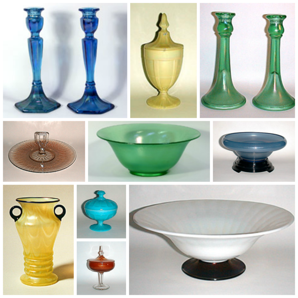 This photo collage shows some of the variety of Stretch Glass.