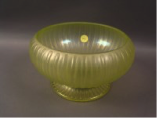 Fenton Topaz #231 cupped, footed bowl, unusual shape $65