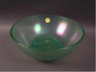 """Diamond Green 8¾"""" deep round bowl with star in base, very scarce, $50"""