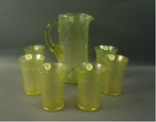 Northwood Topaz Expanded Diamond pitcher, no cover, and 6 tumblers $330