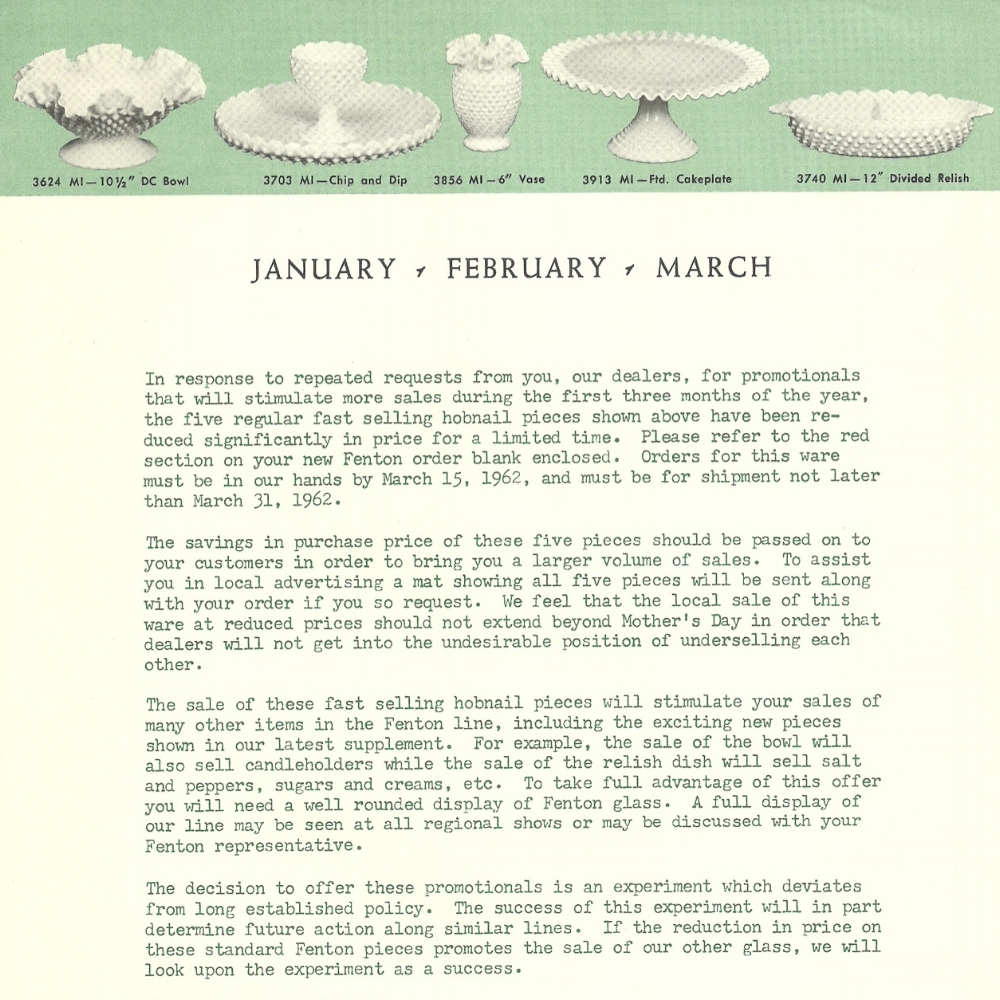 1962 January Promotional Letter