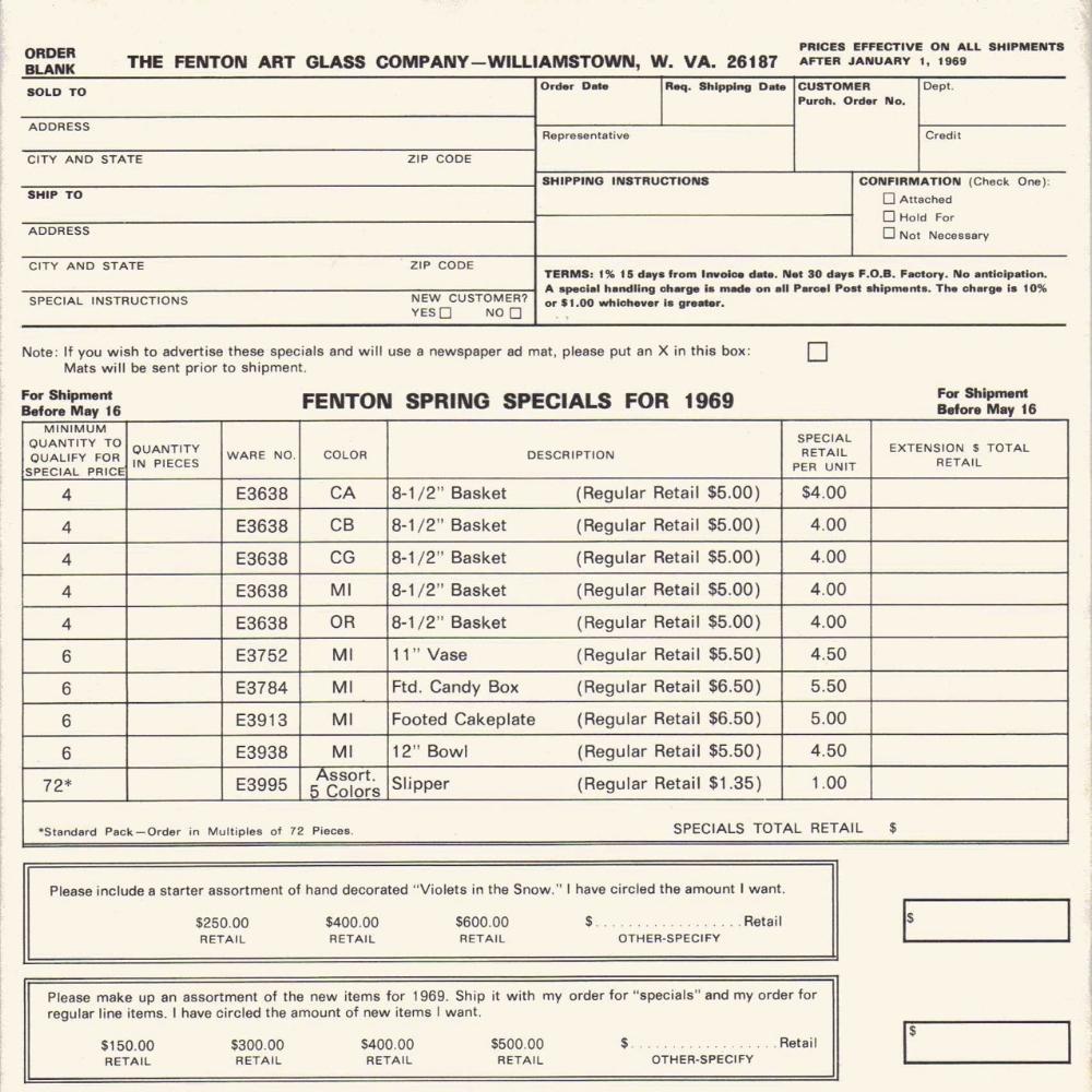 1969 Spring Specials Prices
