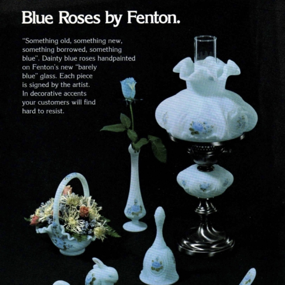 1979 Blue Roses on Blue Satin