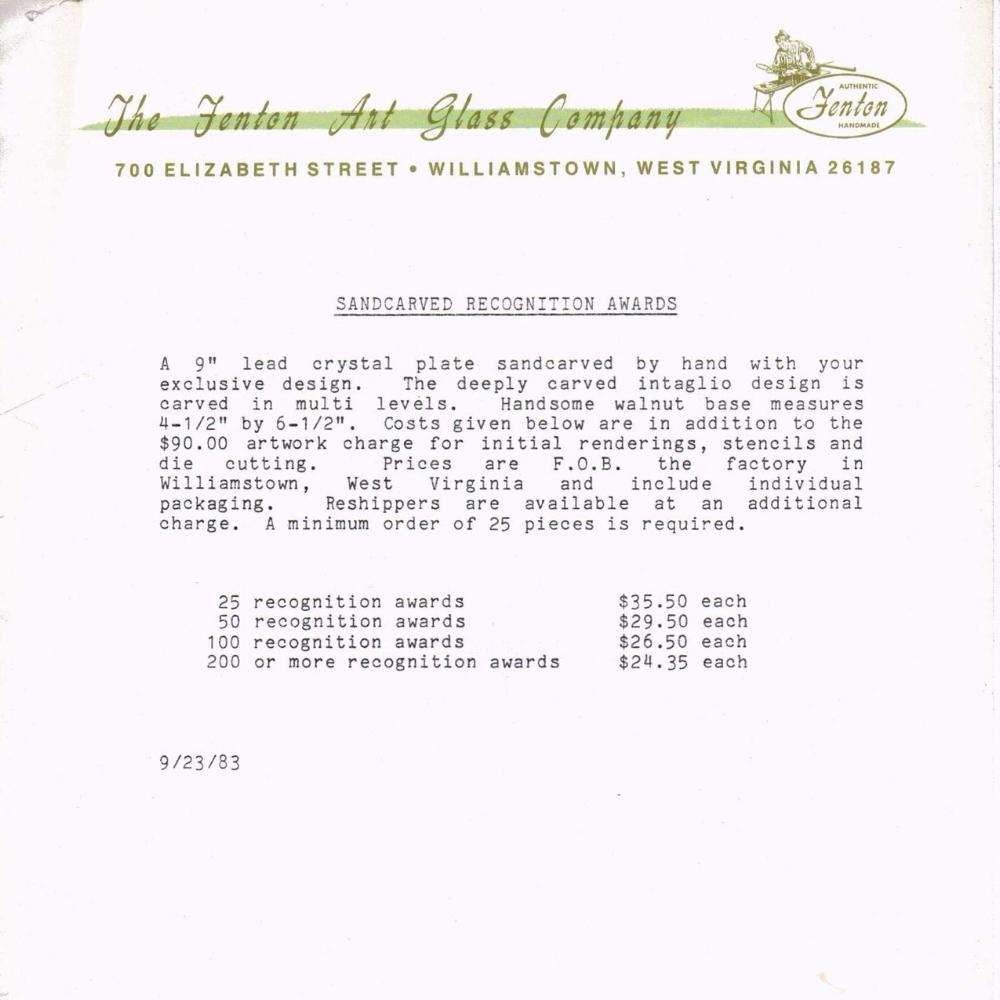 1983 Sandcarved Recognition Award
