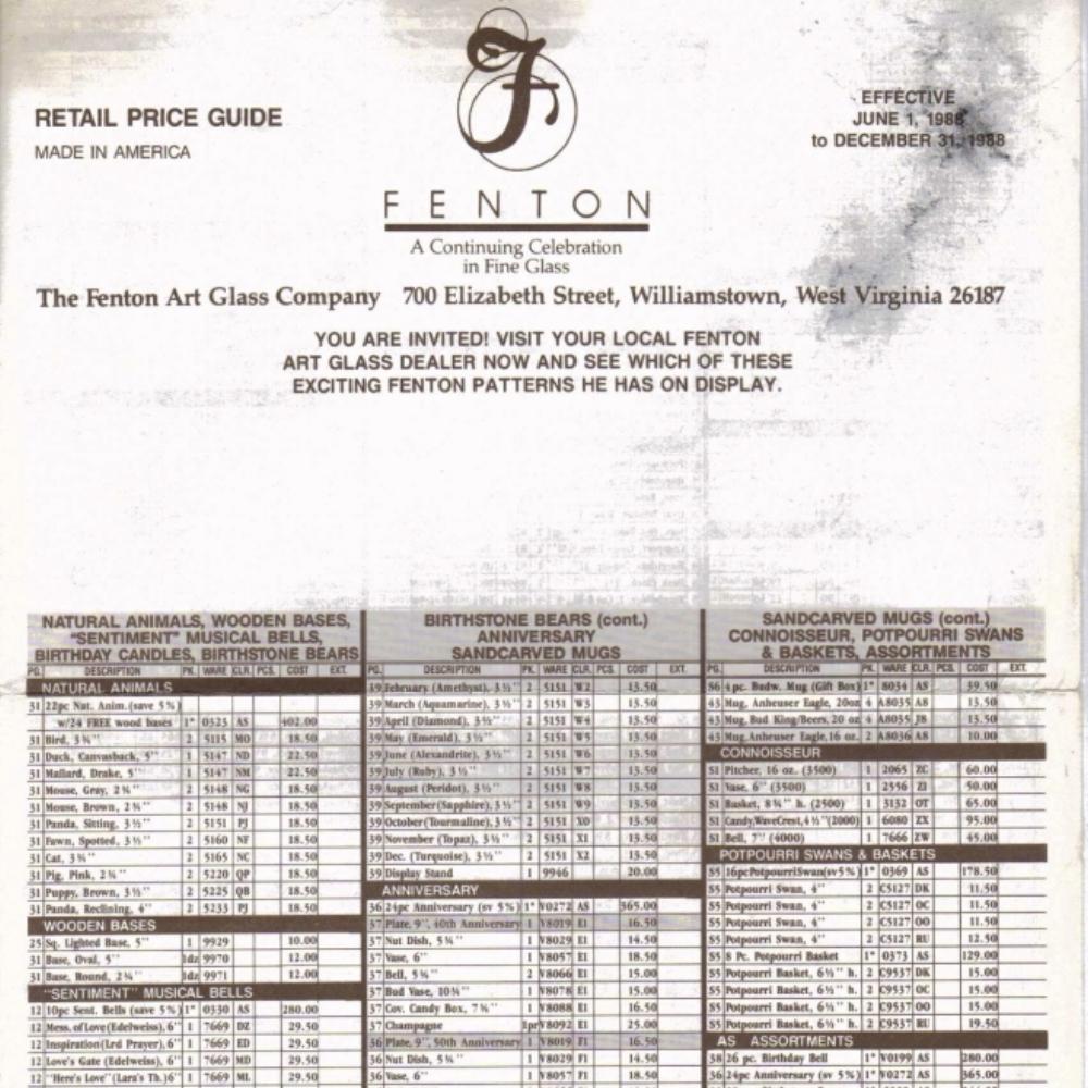 1988 June - Dec Price Guide