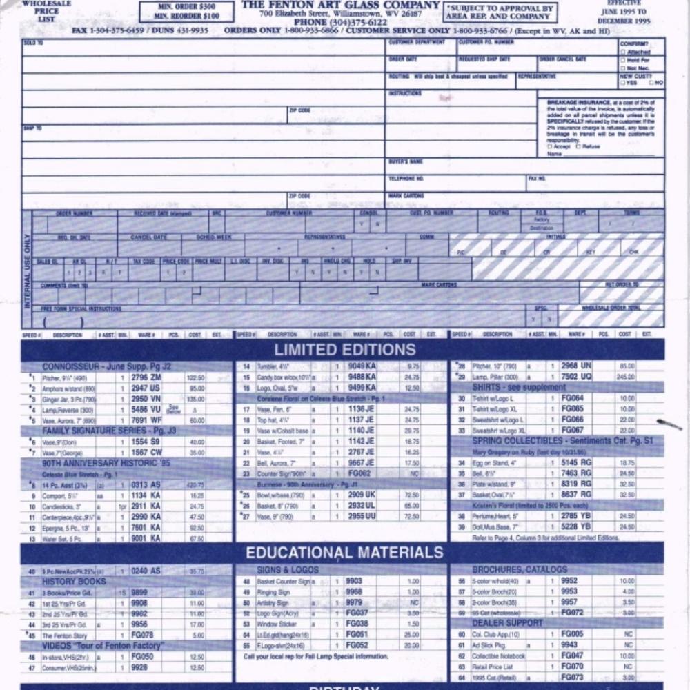 1995 June - Dec Price Guide