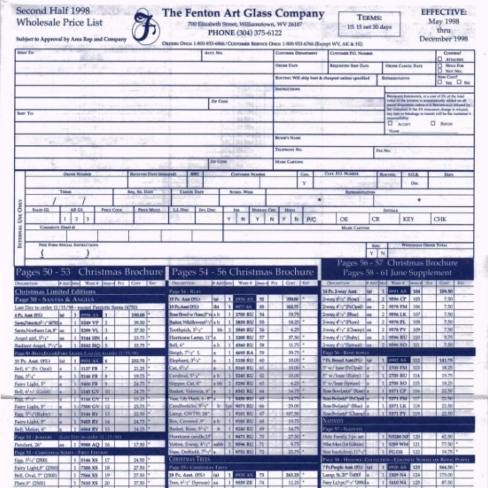 1998 May - Dec Price Guide
