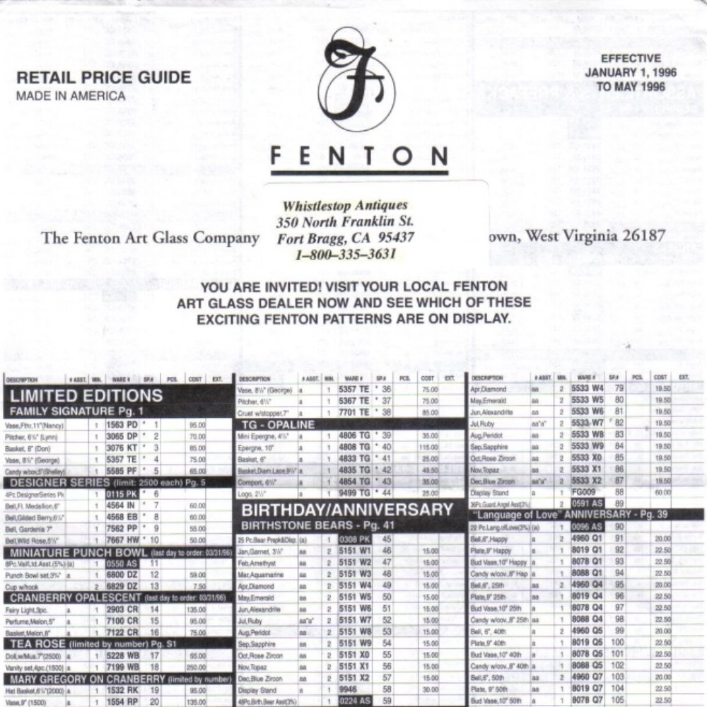 1996 Jan-May Price Guide