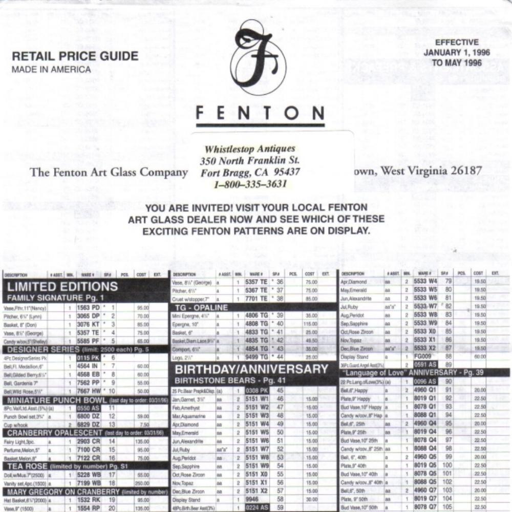 1996 Jan-May Price Guide