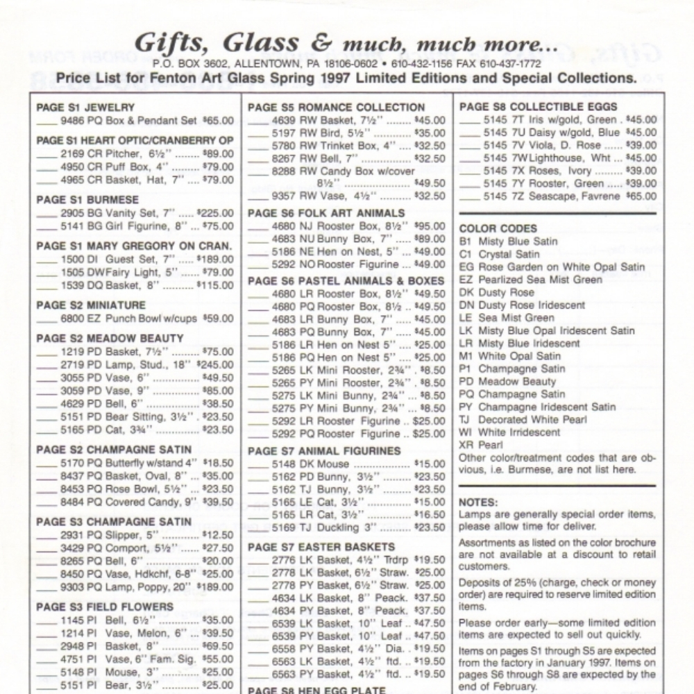 1997 Spring Ltd. Ed. Price Guide