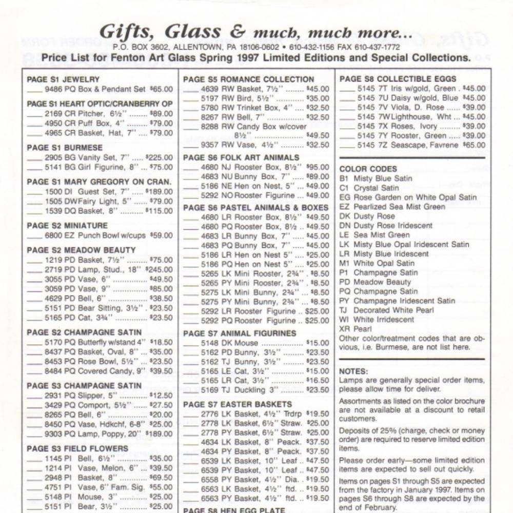 1997 Spring Ltd. Ed. Price Guide