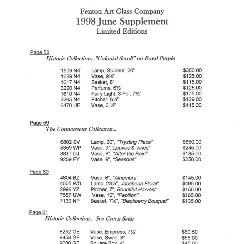 1998 Price Guide June