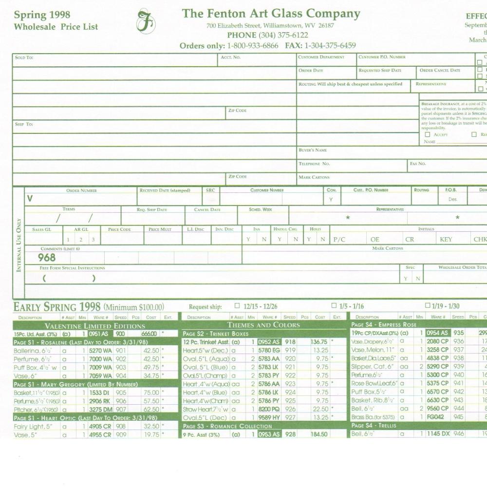 1998 Spring Price Guide