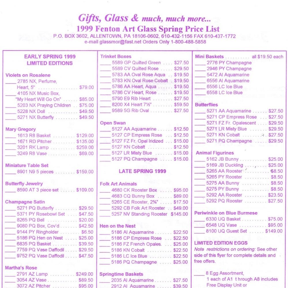 1999 Spring Price Guide