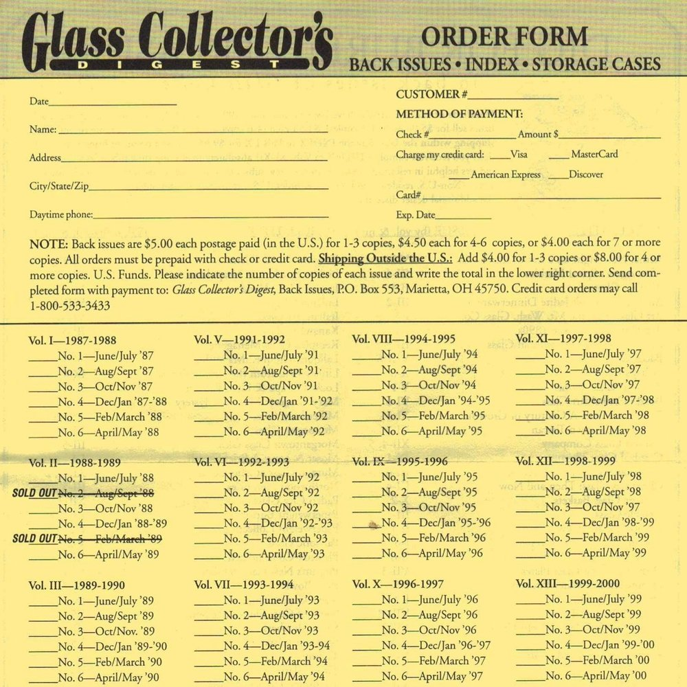 2000 Collector's Digest Order Form