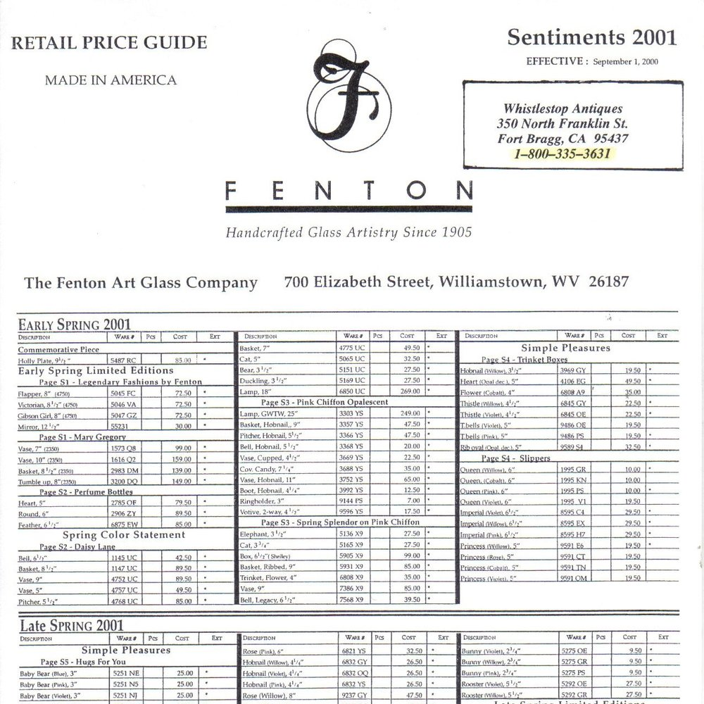 2001 Early Spring Price Guide