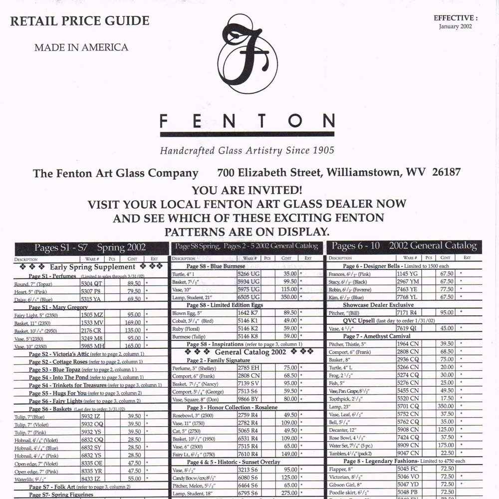 2002 Jan Price Guide Black
