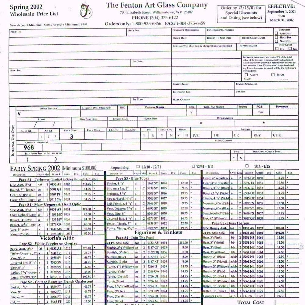 2002 Spring Price Guide