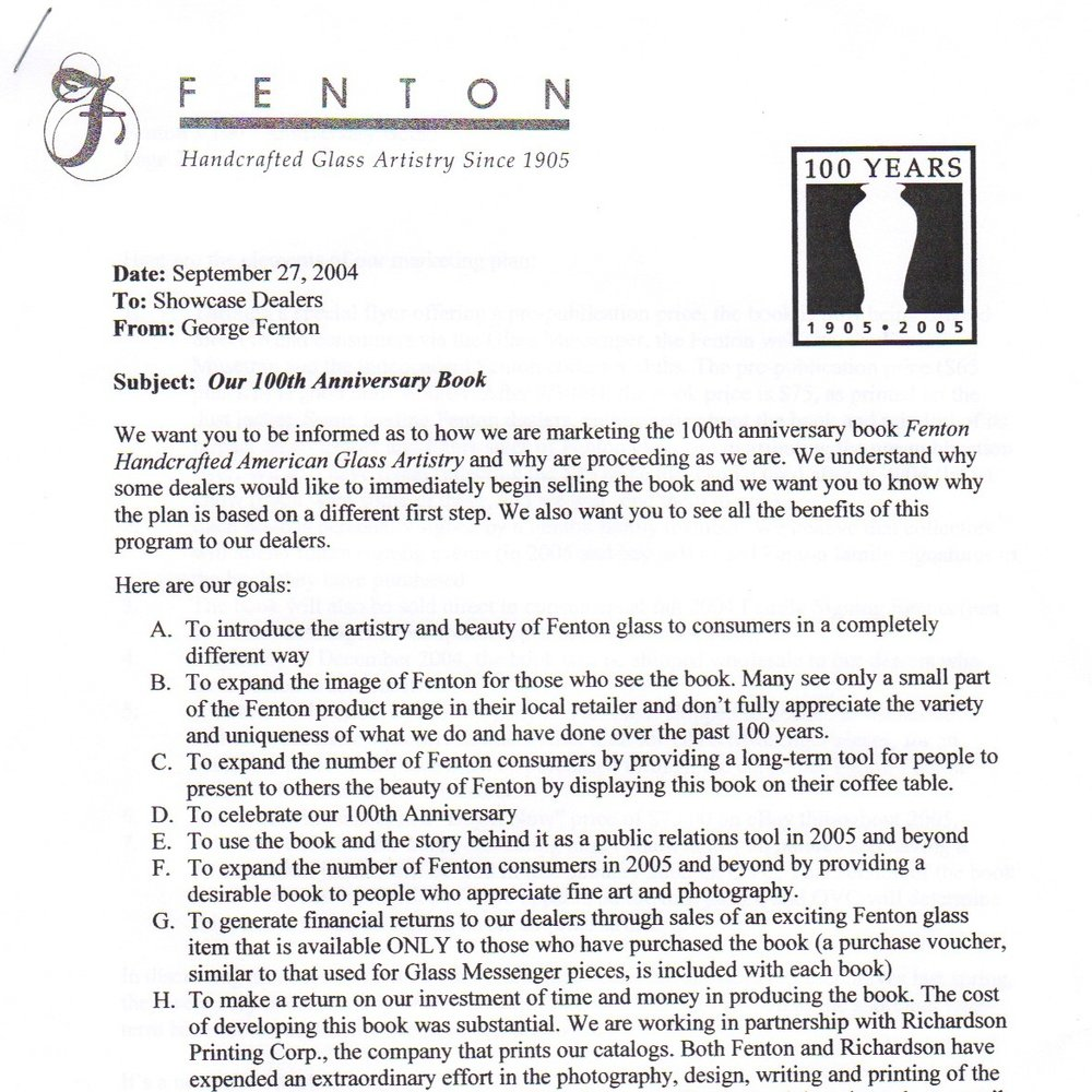 2004 100th Anniv Book Letter