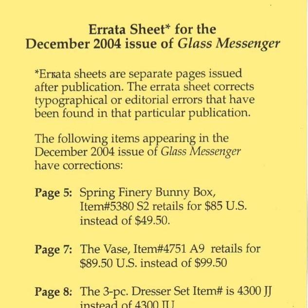 2004 Dec Glass Mess Errata Sheet