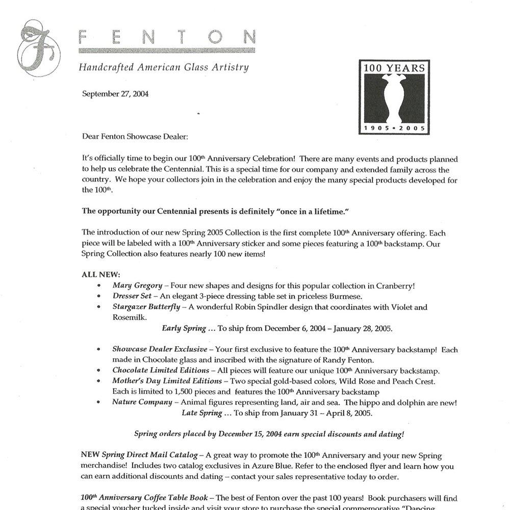 2004 Showcase Dealer Letter
