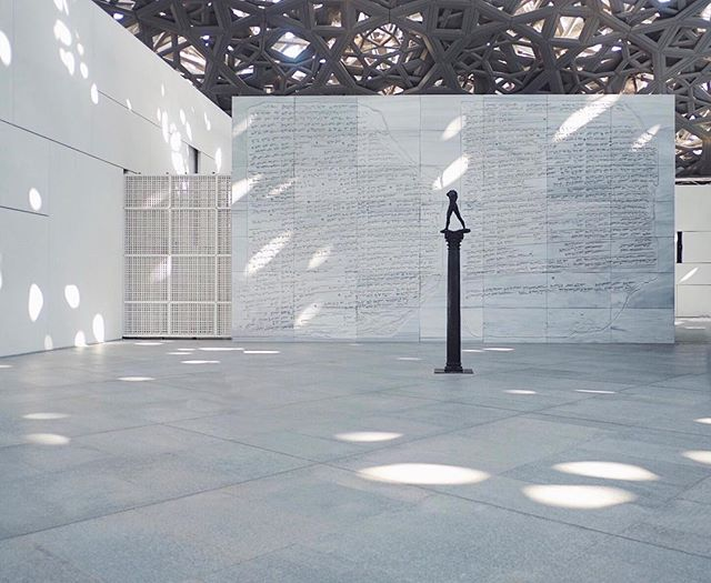 """With the Louvre domed ceiling, the architect Jean Nouvel created what he calls """"a rain of light."""" These splashes of light are designed to shift and change shape from sunrise to sunset, giving life to the museum 🌞"""