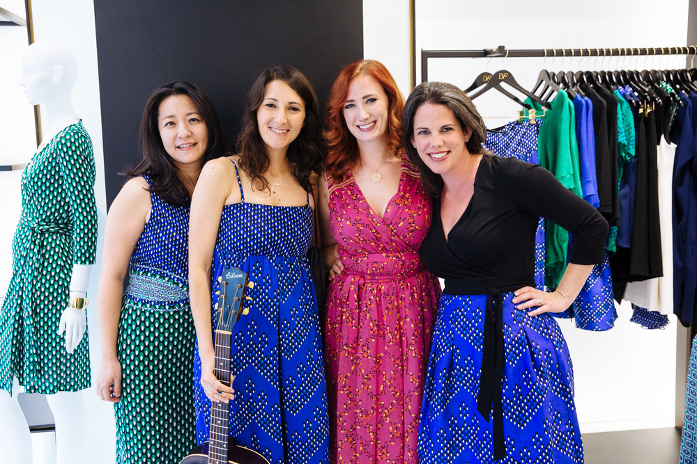 Pianist Dr. Cheryl Lin Fielding, guitarist Molly Miller, singer Kate Bass, and Five Senses Tastings Founder and CEO, Kala Maxym.