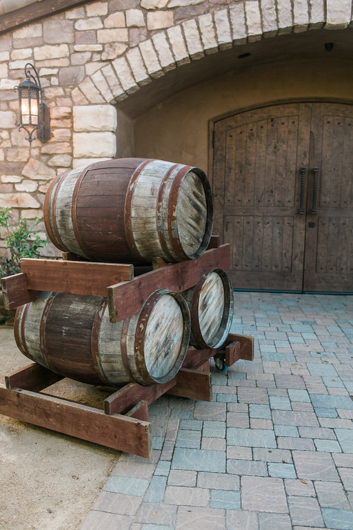 Barrels outside the beautiful wine cave at Europa Village Winery in Temecula, CA