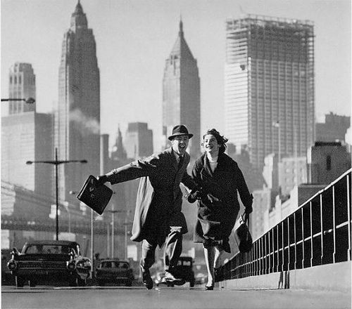 Couple Running Over the Brooklyn Bridge 1960 Norman Parkinson