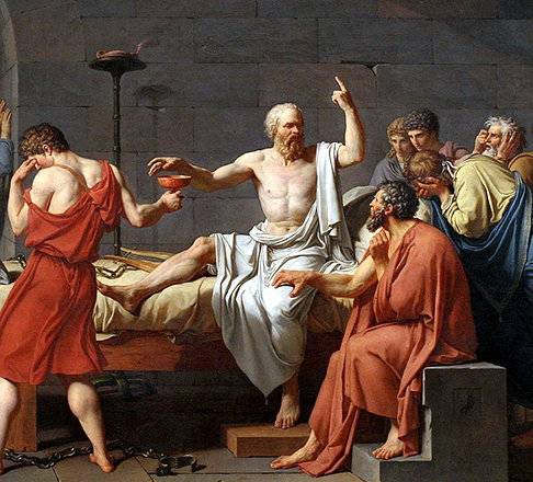 Tableau with classically sculpted bodies in  Socrates  1787 Jacques-Louis David