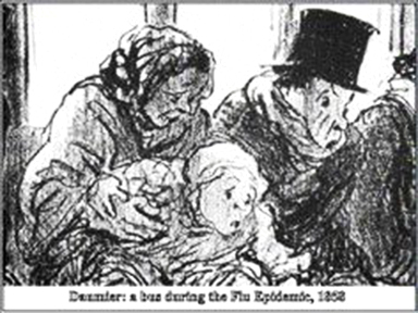 Shown first as a lithograph in a magazine - not an art gallery. Bus During a Flu Epidemic  1858 Honoré Daumier