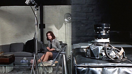 Blow-Up  Vanessa Redgrave as Jane and the camera both in perfect focus but the framing emphasizes the flat geometry of the space.