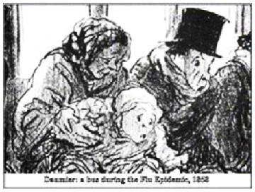 Bus During a Flu Epidemic , 1858 Honoré Daumier