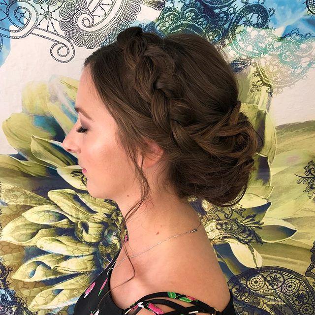 A classic braided crown updo for this lovely! . . . #updo #bridal #makeup #bride #bridesmaids #braid #braids #braidstyles #texture #wedding #weddinghair #weddingmakeup #ido #carmelwedding #montereywedding #monterey #carmel #santacruz #santacruzwedding