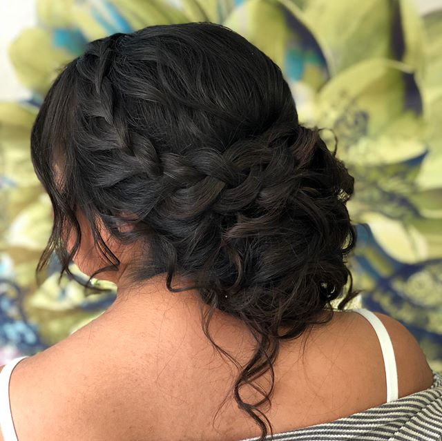 Soft romantic braided updo for this beauty created using my trusty @kenraprofessional products! #lowupdo #braids #braidstyles #updo #wedding #weddingwire #bride #bridalhair